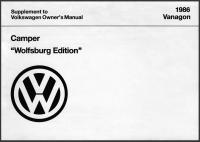 "1986 Camper ""Wolfsburg Edition"" Owner's Manual Supplement Cover"