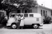 Split Bus Kombi Bullet Nose Couple Pet Myna Bird Vintage Photo