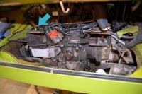 Charcoal canister tube nipple on engine tin
