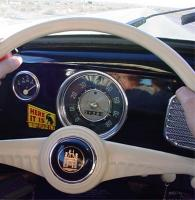 My 1956 beetle traveling fast through the Mojave Desert, California