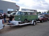 Bus on trailer