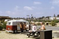 1967 Westy Westfalia Dormobile Dormy Titian Red Fat Hatch Mauser Bowl ? So Cal Camping San Elijo State Beach Cardiff By The Sea Trailer Vintage Photo
