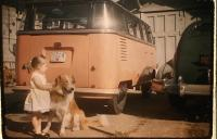 Vintage Barndoor Deluxe photo / slide with kid and dog