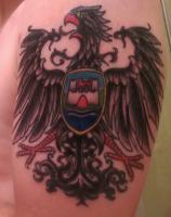 Wolfsburg crest and heraldic eagle tattoo