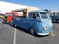 Blue Single Cab with hoops and canvas
