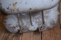 Barndoor gas tank with offset neck and stickers