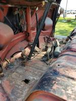 Bus chassis and parts on trailer