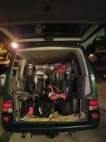 packing EuroVan with 2 Honda Dirtbikes