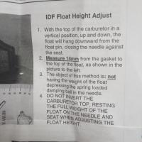 Weber IDF Float info