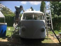 1967 VW Bus - covering with primer