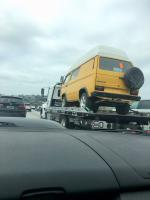 Yellow Syncro on flat bed