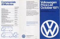 UK Volkswagen Price List, October, 1971