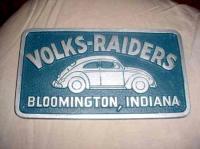 Vintage Volks-Raiders VW Car Club Plaque