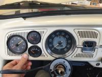 gauges installed in original speaker panel in dash of 67 bug