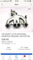 Inlet manifold for VW caddy 1.9tdi