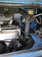 1973 bus engine bay with DFEV Weber