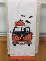 Bus Halloween Dish Towel