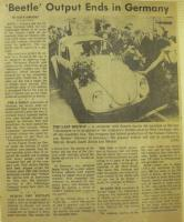 Last Beetle newspaper clipping