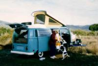 71 Westy out at the lake,