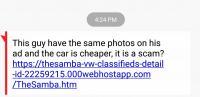 Fake text trying to steal Samba login info