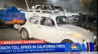 VW escaping fire area (news clip)
