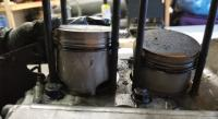 jugs removed, pistons and inside case pics