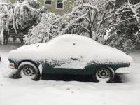 Karmann Ghia rally car in snow.