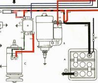 Snip showing external voltage regulator and start of chandelier wiring