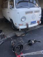 1971 Westfalia brakes master cylinder and transmission removed