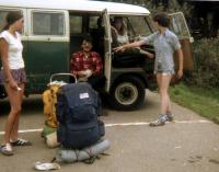 My 66 VW bus, photo from 1978 backpacking trip, Los Padres