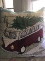 Christmas bus pillow