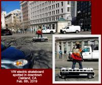 """Split Bus"" electric skateboard device in downtown Oakland, CA"