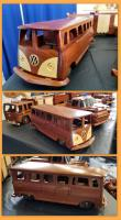 Wooden VW split-window bus toy