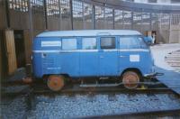 Bus on train tracks