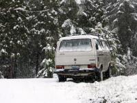 van in snow