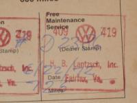 H.B. Lantzsch, Inc. VW Dealer Service Stamp