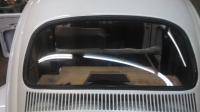 1961 VW ragtop rear Glass with black chrome molding