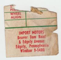 Import Motors, Edgely, PA door sticker