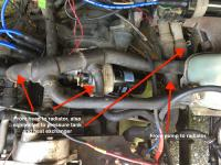 coolant pipes to/from radiator