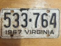 1967 VA license plate