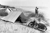 Vintage pic of bus, NSU motor cycle & Klepper/vintage tents