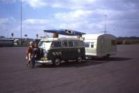 RHD Velvet Green Dormobile Camper with kayak and towing a trailer