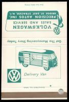 VW Bus Matchbook from Precision Autos, East Syracuse, NY