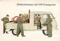 Old VW Bus postcard