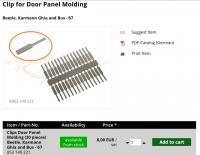 Ghia door Panel molding clips