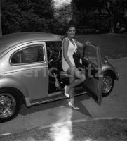 Vintage photo - early custom Beetle with girl