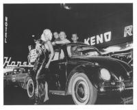 Vintage photo - early 1960's sunroof Beetle and girl