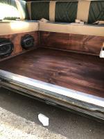 Custom pine wood headliner and flooring mahogany stain