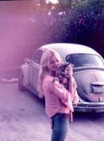 Vintage photo - Beetle, girl and kitty cat