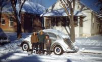 Vintage photo - early Beetle in the snow